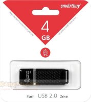 USB-flash Smartbuy 4Gb black Quartz series USB 2.0